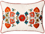 Lumbar White Floral Cotton Decorative Pillow Cover Silk Embroidery 14