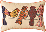 Lumbar Beige Birds On Wire I Decorative Pillow Cover Cotton Applique 14