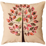 Beige Tree of Life Bird Decorative Pillow Cover Cotton Applique Work 18