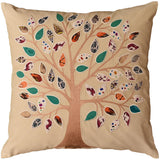 Beige Tree of Life Decorative Pillow Cover Cotton Applique Work Designs 18