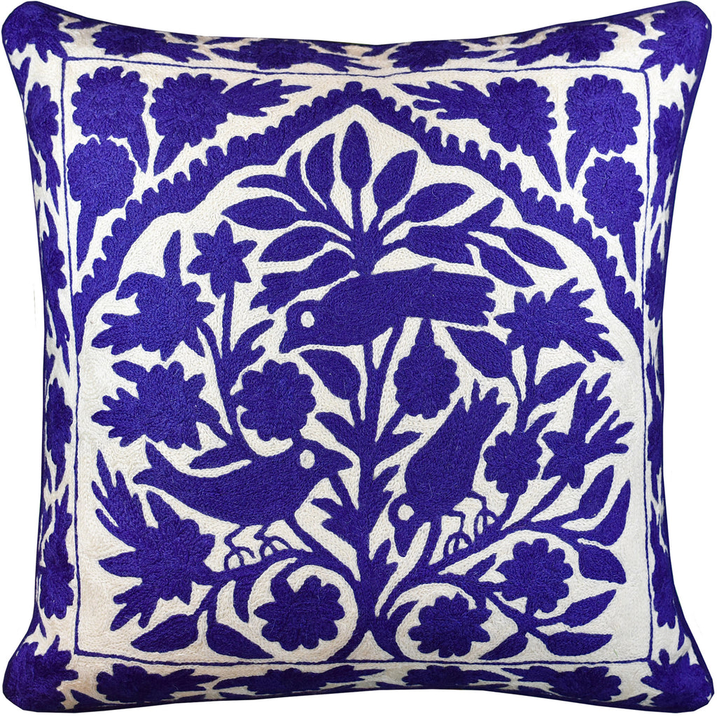 "Tree of Life Birds Lapis Blue Accent Pillow Cover Handembroidered Wool 20x20"" - KashmirDesigns"