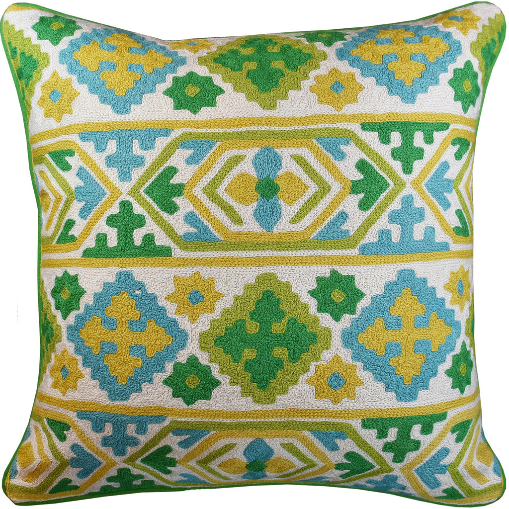 "Tribal Southwestern Green Decorative Pillow Cover Handembroidered Wool 20x20"" - KashmirDesigns"