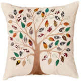 White Tree of Life Decorative Pillow Cover Cotton Applique Work Designs 18