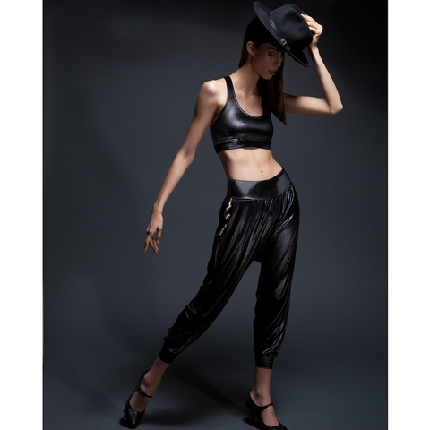 B-Boy Velvet Lounge Pants in Black + Leopard by SukiShufu