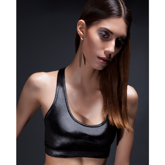 Athleisure sports bra by SukiShufu - Dutty Wine Velvet Racerback Crop Top in Black