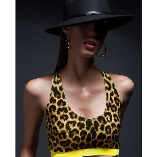 SukiShufu Athluxury Clothing |  Dutty Wine Velvet Racerback Crop Top in Leopard + Yellow