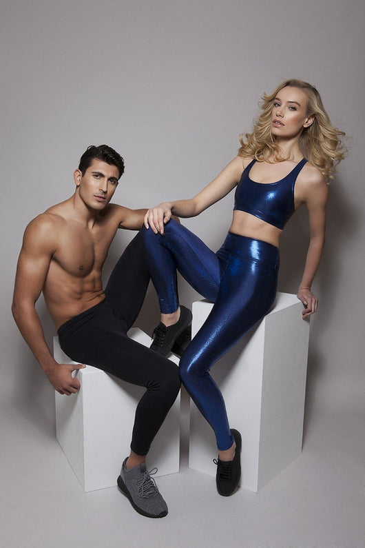 High Waisted Leggings in Blue Gloss