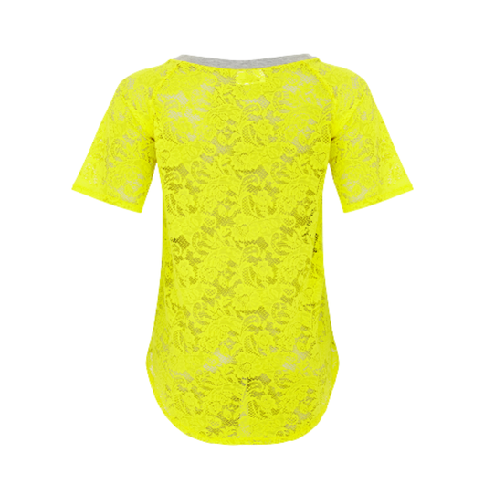 Back view of Acid Love Lace Top in Yellow + Grey