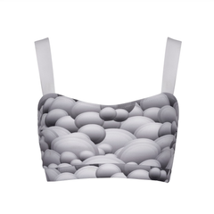 Suki Leatherback Miso Crop Top in Grey Mountain