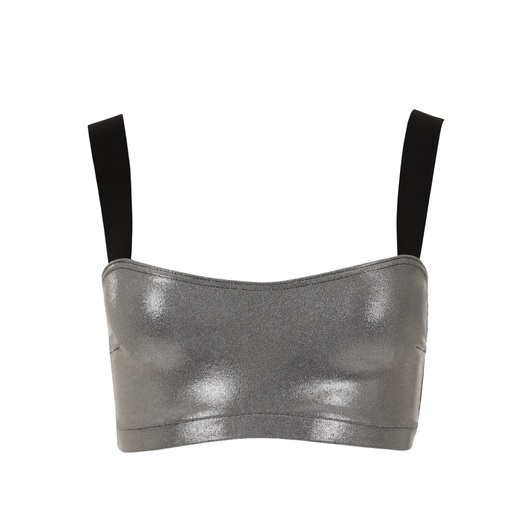 Suki Leatherback Miso Crop Top in Chrome