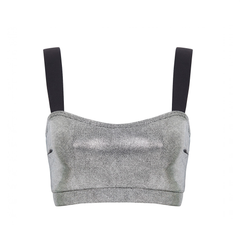 Suki Leatherback Miso Crop Top in Silver by SukiSHufu