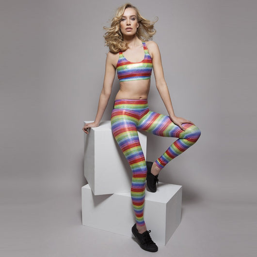 SukiShufu Suki Leatherback Long Leggings in Rainbow Hologram