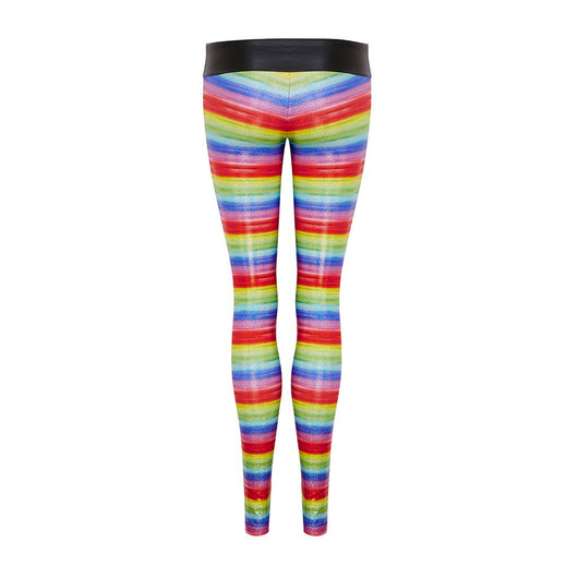 Suki Leatherback Long Leggings in Rainbow Hologram