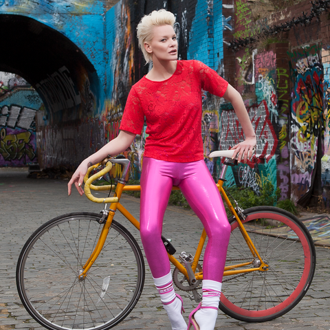 Suki Leatherback Long Leggings in Candy Pink