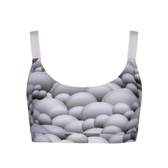 Suki Tempura Crop Top in Grey Mountain