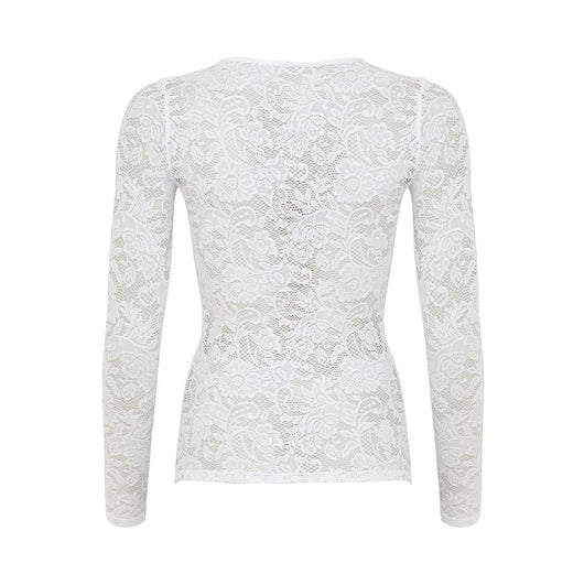 Love Long Sleeved Stretch Lace Top White