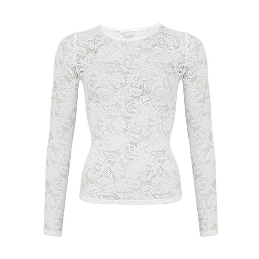 Love Long Sleeved Stretch Lace Top White by Sukishufu