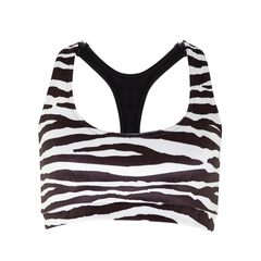 Love On Top Racerback Crop Top in Zebra Pattern