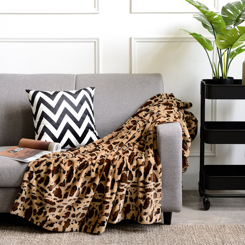 Cheer Collection Faux Fur Printed Blanket - Multiple Colors & Sizes