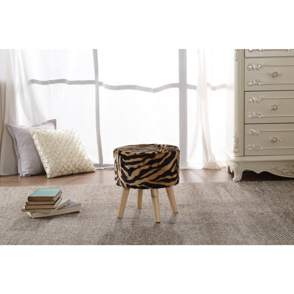 Enjoyable Cheer Collection Faux Fur Wood Leg Stool With Tiger Stripes Cjindustries Chair Design For Home Cjindustriesco