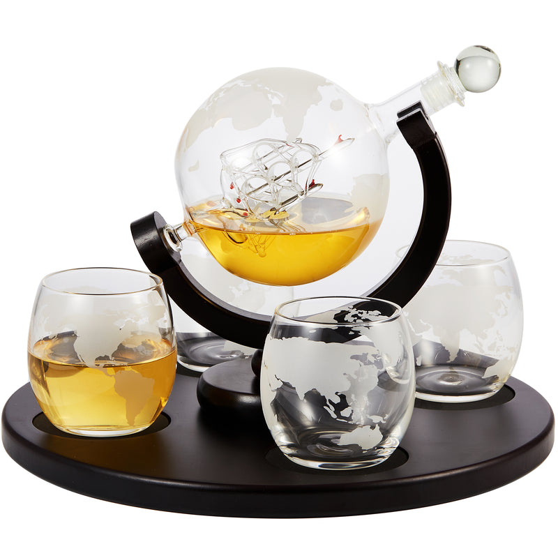 Cheer Collection Globe Whiskey Decanter and 4 Cups Set with Wood Base