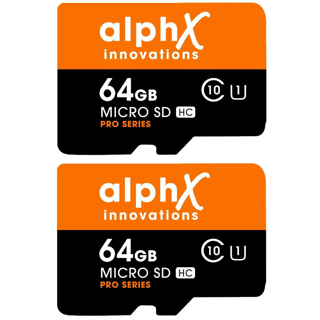 AlphX 64gb 2 Pack Micro SD High Speed Class 10 Memory Cards with Bonus Adapter and Sandisk Micro SD Card Reader