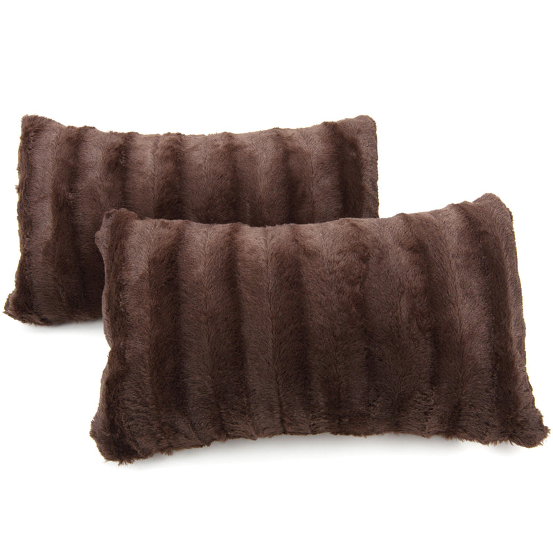 "Cheer Collection Set of 2 Decorative Throw Pillows - Reversible Faux Fur to Microplush Accent Pillows by 12""x 20"""
