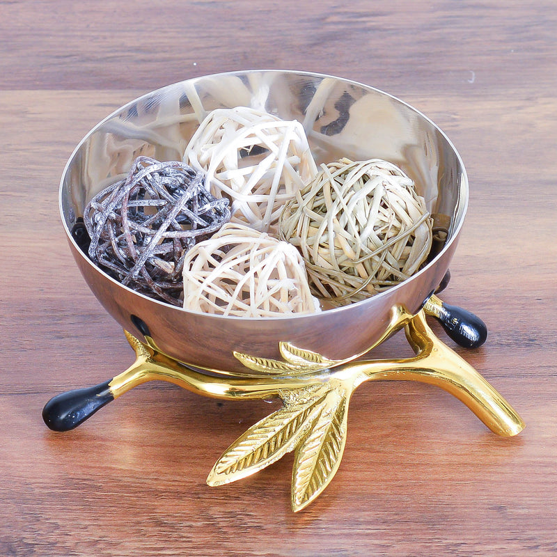 Cheer Collection Shiny Polished Stainless Steel Decorative Bowl on Gold Olive Branch Stand - Potpourri Holder, Fruit Bowl, Candy Dish and Centerpiece Bowl