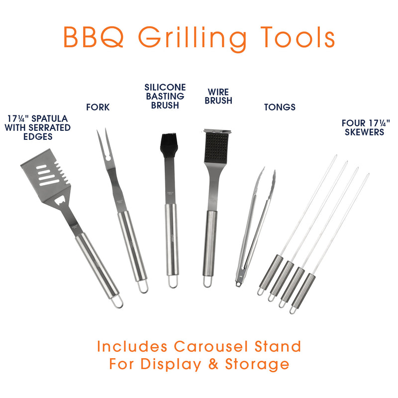 Cheer Collection Stainless Steel 10 Piece Barbecue Grill Tools Set with Storage Carousel