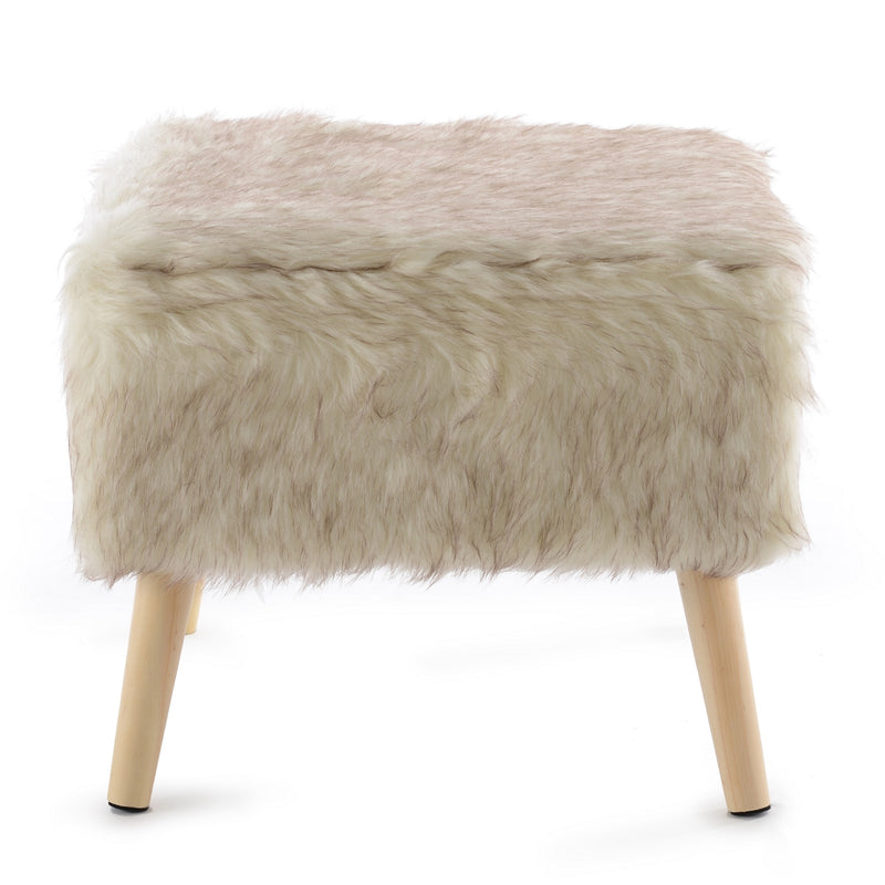 Cheer Collection Faux Fur Wood Leg Stool