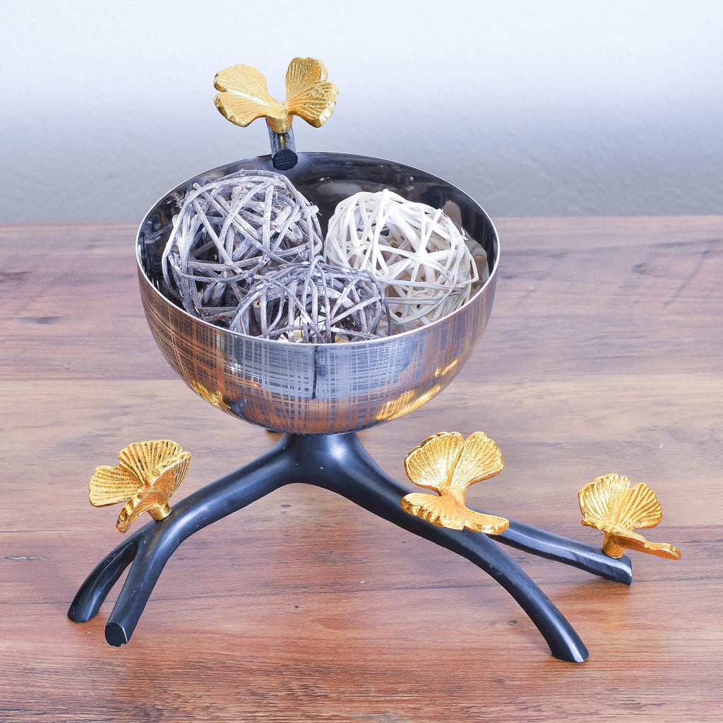 Cheer Collection Textured Stainless Steel Decorative Bowl on Black Branch Stand with Gold Butterflies - Diameter Potpourri Holder, Fruit Bowl, Candy Dish and Centerpiece Bowl