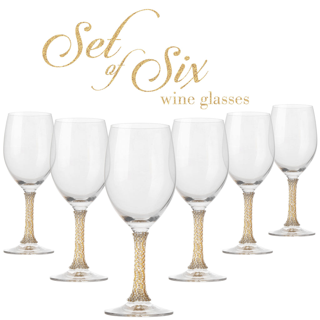 Cheer Collection Crystal Wine Glass with Gold Stem, Set of 6