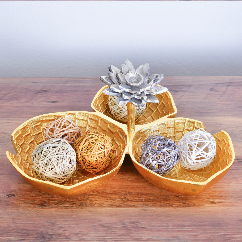 Cheer Collection Lily Inspired Gold Decorative Bowl with Silver Lotus Flower - Three Sectional Elegant Serving Bowl, Candy Dish and Centerpiece Bowl