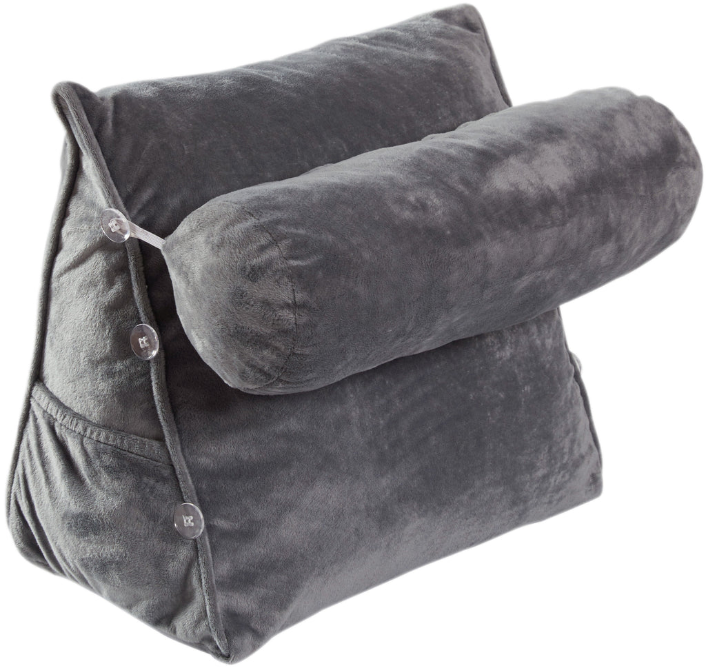 Cheer Collection Wedge Pillow with Detachable Bolster, Gray