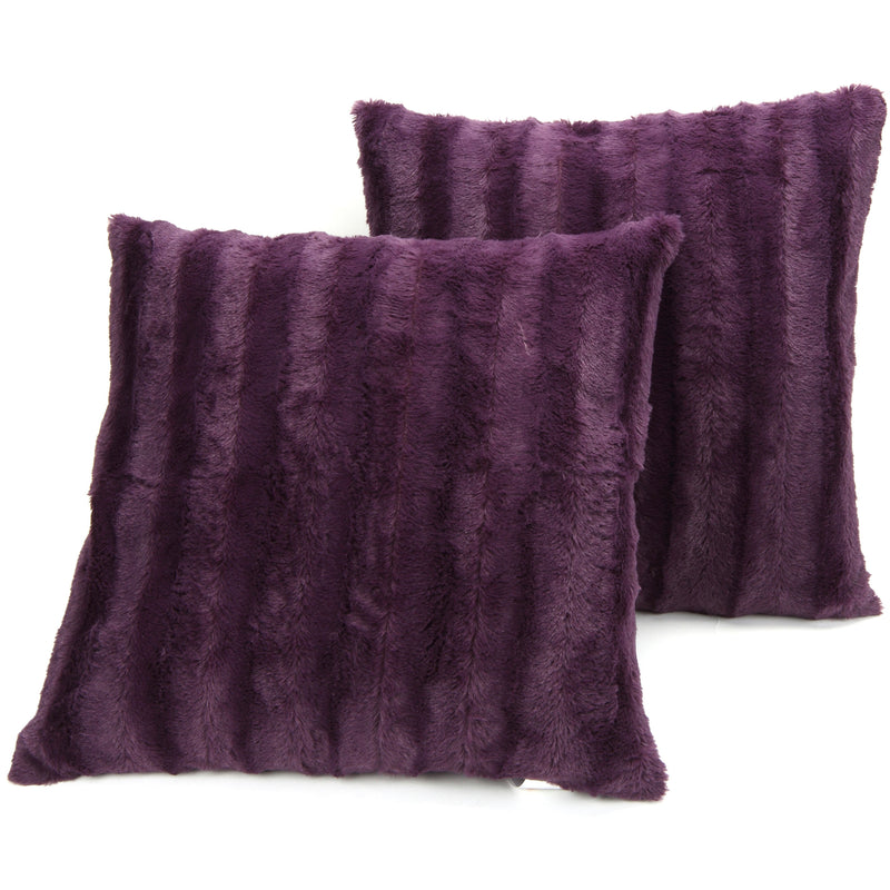 Cheer Collection Faux Fur Square Decorative Pillow 18x18 (Set of 2)