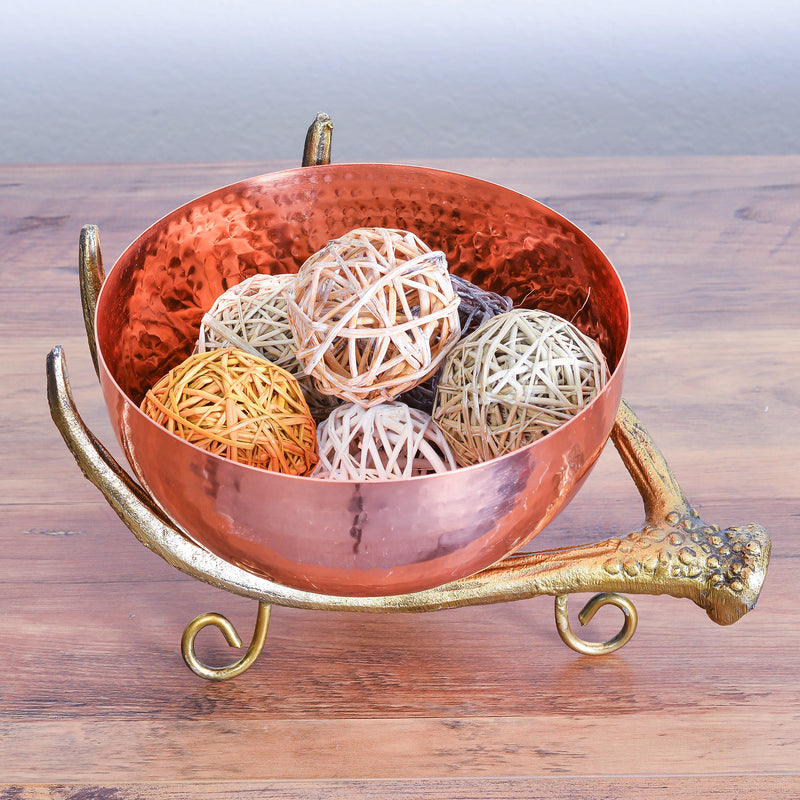 Cheer Collection Copper Colored Decorative Bowl on Rustic Antler Stand - Diameter Textured Serving Bowl, Candy Dish and Centerpiece Bowl