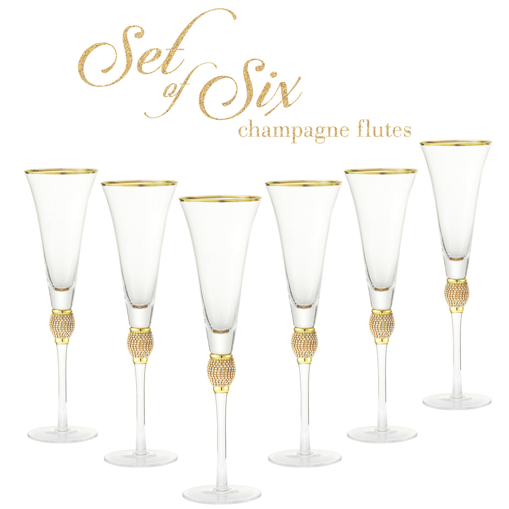 Cheer Collection Crystal Champagne Trumpet with Gold Rim Set of 6