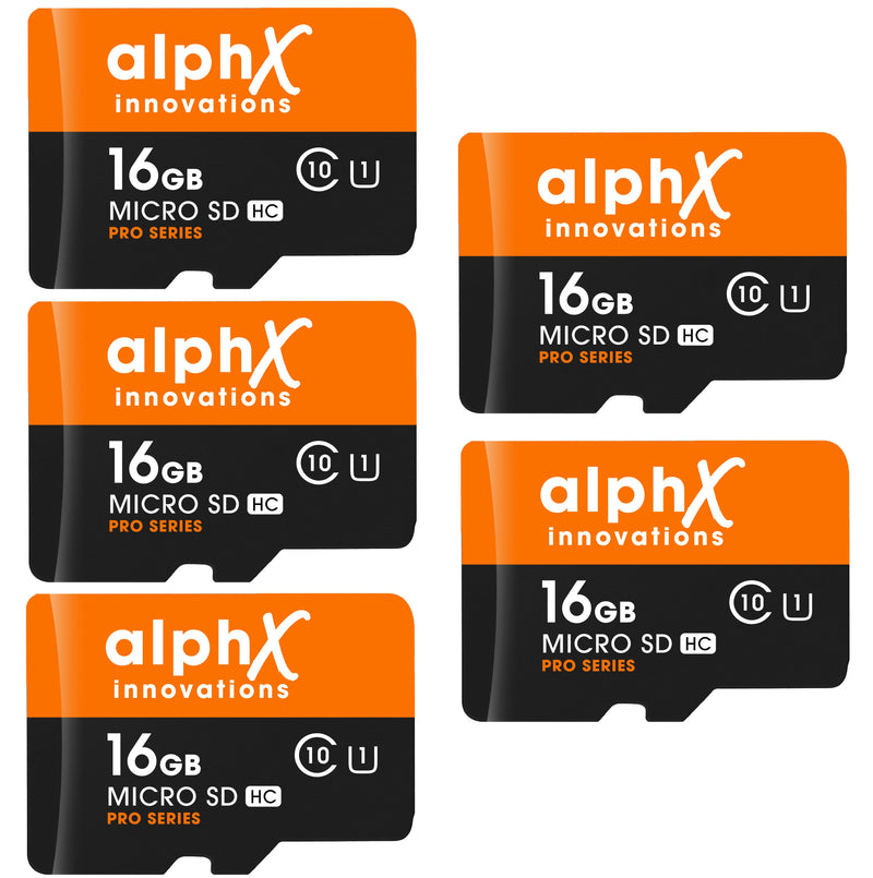 AlphX 16gb 5 pack Micro SD High Speed Class 10 Memory Cards with Bonus Adapter and Sandisk Micro SD Card Reader