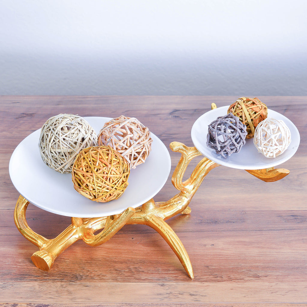Cheer Collection White 2 Tier Dish on Gold Stand 7698