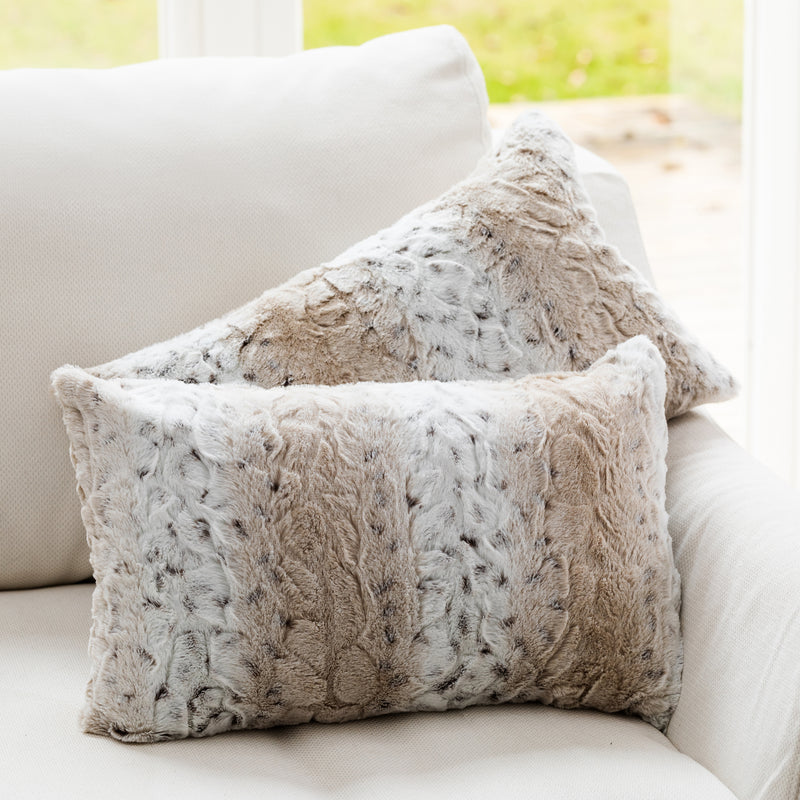 "Cheer Collection Embossed Faux Fur Throw Pillows 12"" x 20"" Snow Leopard, Set of 2"