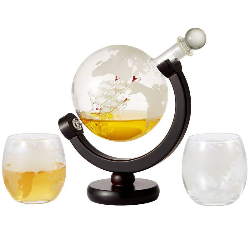 Cheer Collection Globe Etched Whiskey Decanter With Interior Hand-Crafted Glass Ship