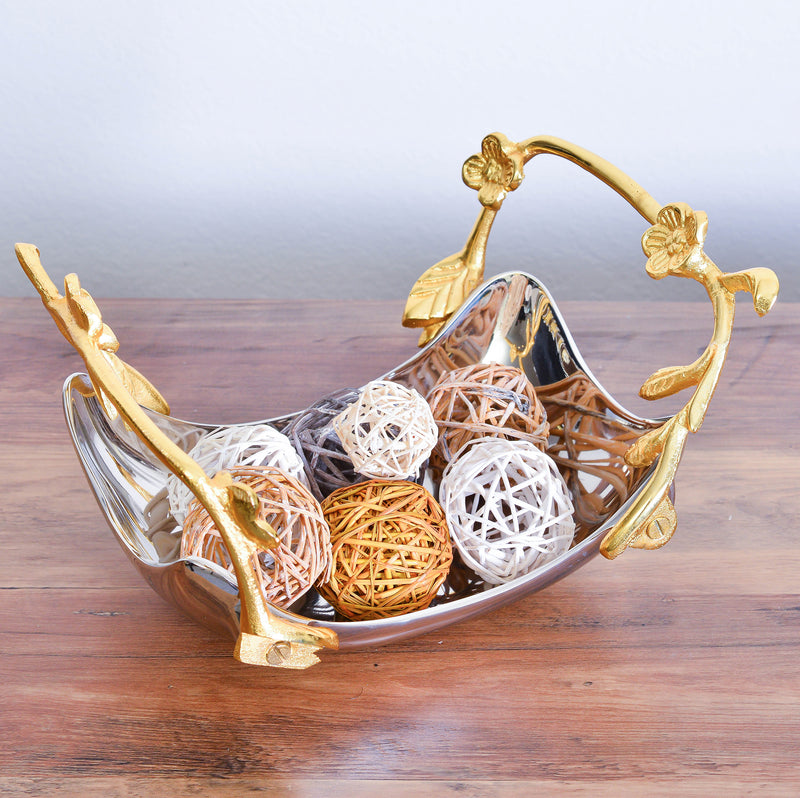 Cheer Collection Shiny Stainless Steel Serving Bowl with Gold Decorative Handles, Sleek Curved Fruit Bowl, Candy Dish and Centerpiece Bowl