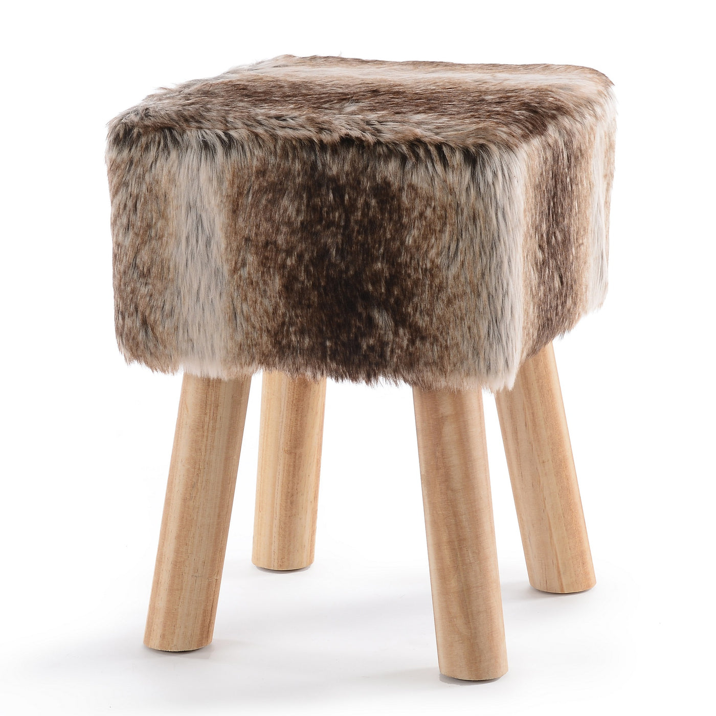 Super Cheer Collection Faux Fur Wood Leg Stool Brown Square Round Cjindustries Chair Design For Home Cjindustriesco