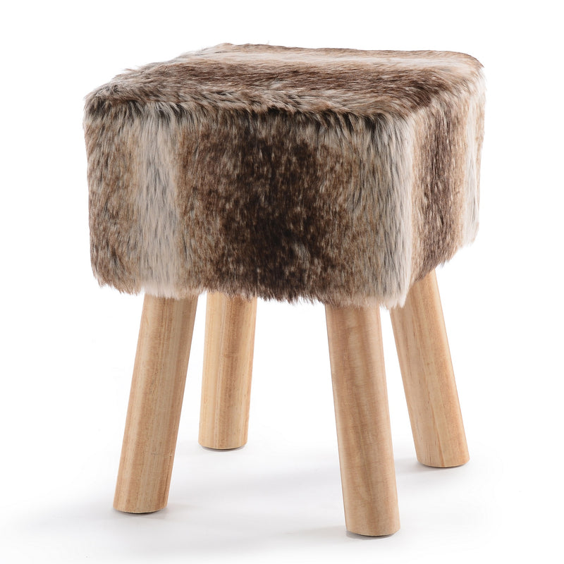 Cheer Collection Faux Fur Wood Leg Stool Brown - Square & Round