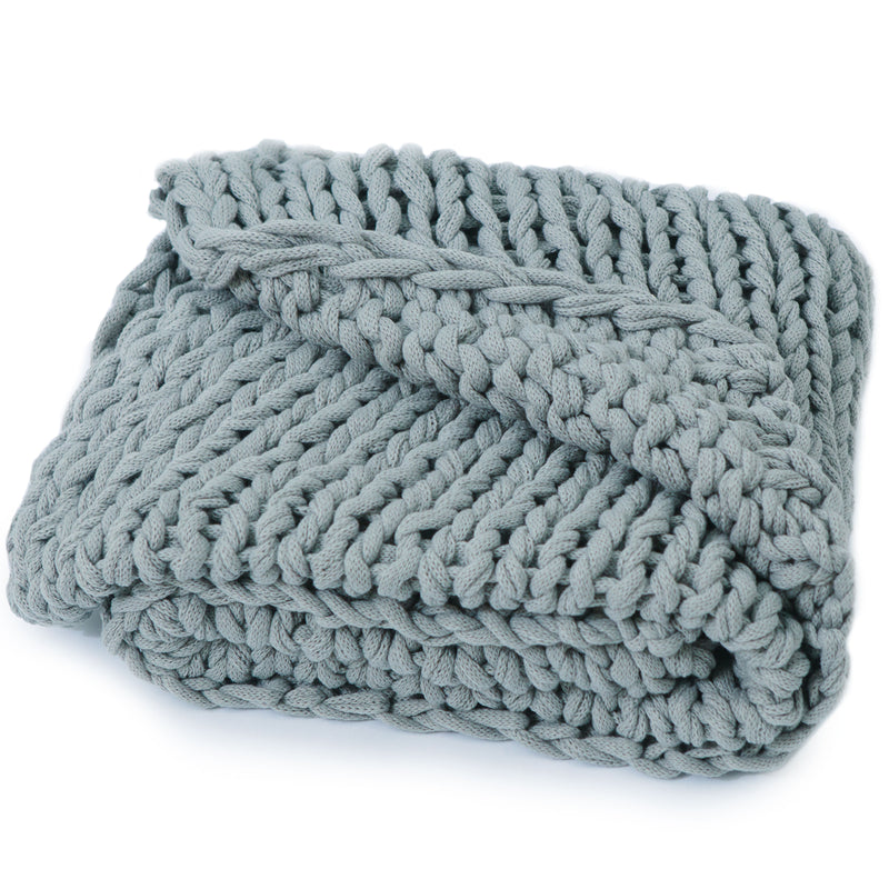 Cheer Collection Chunky Cable Knit Throw Blanket Plush and Soft 100% Acrylic Accent Throw - 50 x 60