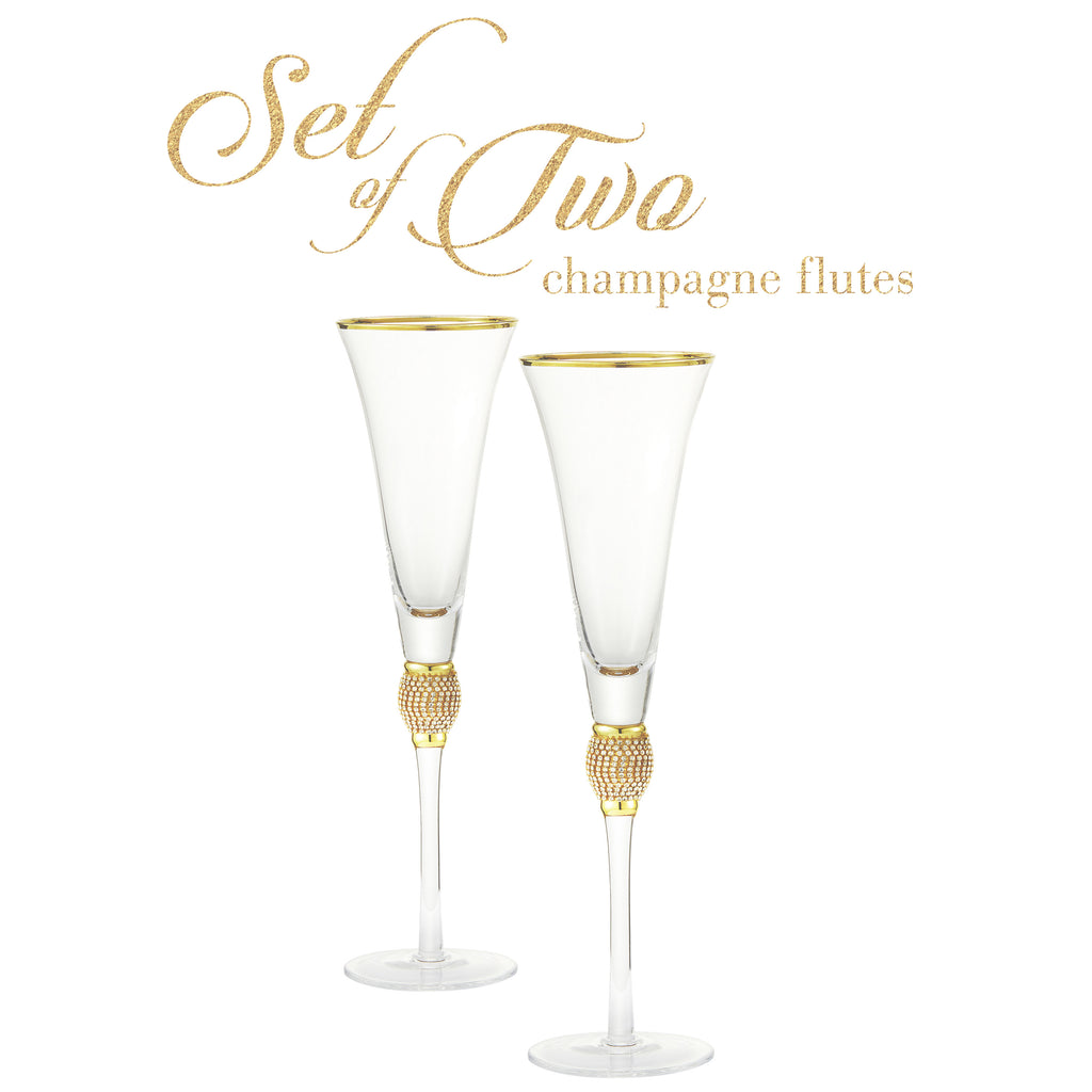Cheer Collection Crystal Champagne Trumpet with Gold Rim Set of 2