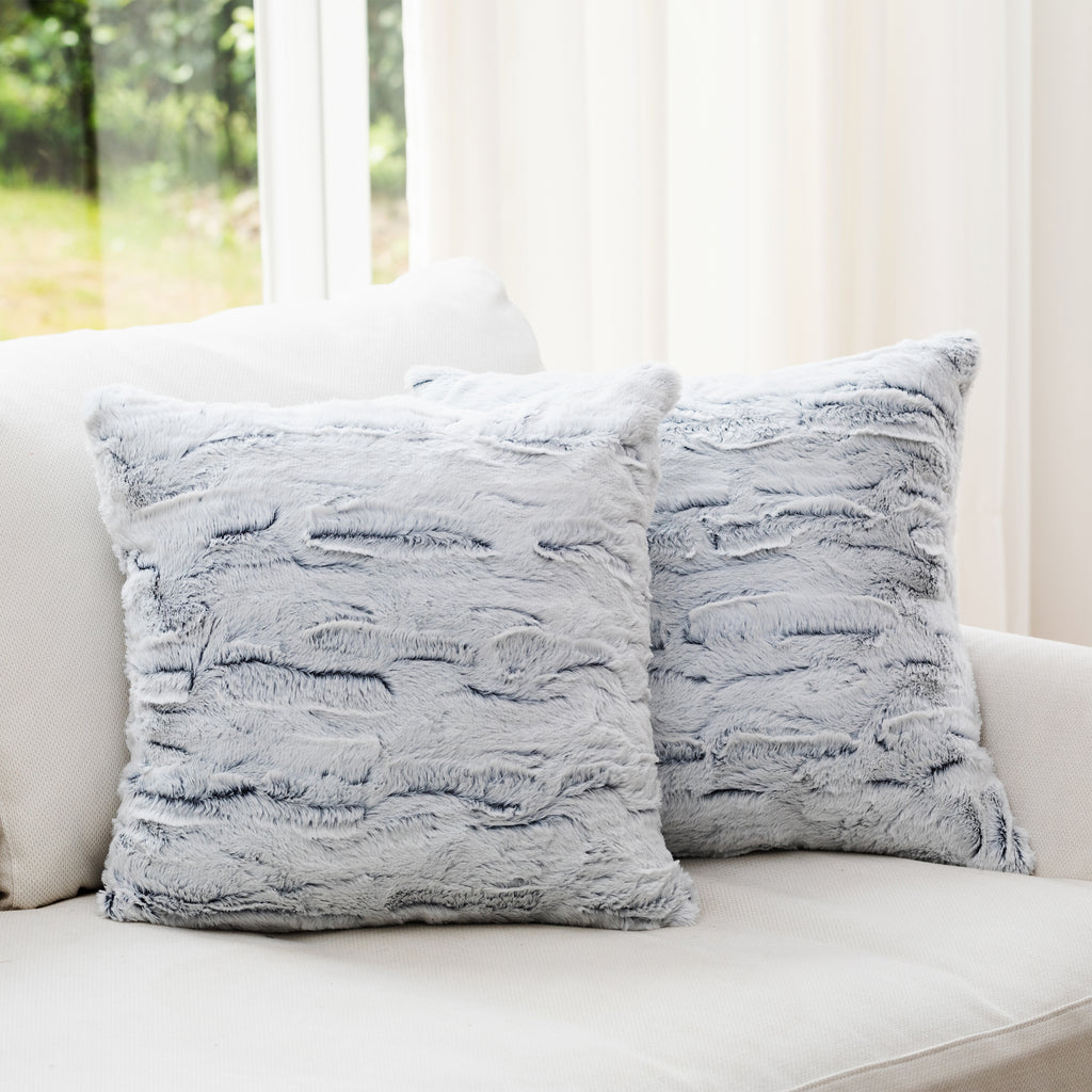 "Cheer Collection Embossed Faux Fur Throw Pillows - 18"" x 18"" - White/Blue"