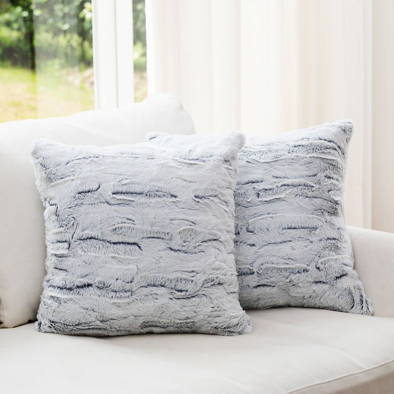 "CC-EMBFPL18x18-BLUCheer Collection Embossed Faux Fur Throw Pillows - 18"" x 18"" - White/Blue"