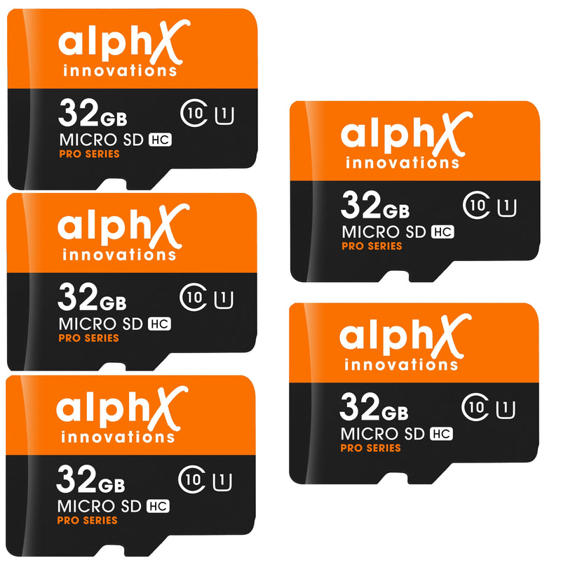 AlphX 32gb 5 pack Micro SD High Speed Class 10 Memory Cards, Adapter & Sandisk Micro SD Card Reader