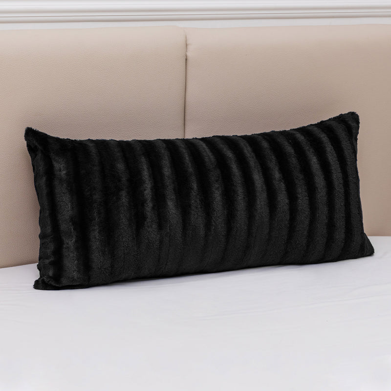 "Cheer Collection Faux Fur Throw Pillow - 18"" x 40"" Long Decorative Body Pillow for Bed or Couch"
